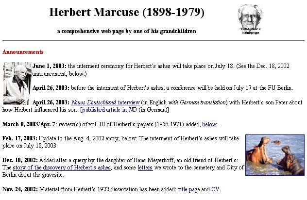 June 2003 Version Of Herbert Marcuse Homepage